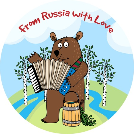 folk music: From Russia With Love vector emblem or badge Illustration