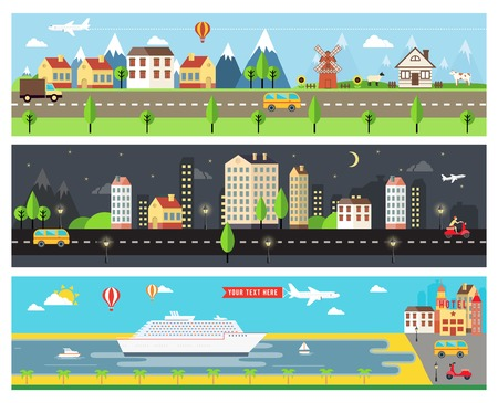high rise: Beautiful Vector City Landscape Banners Illustration