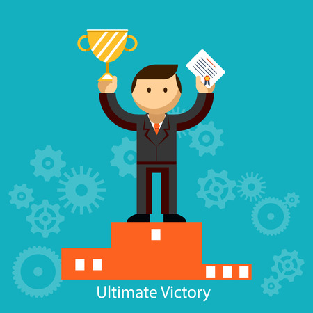 Businessman winner with certificate and trophy Vector