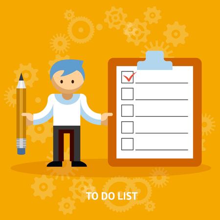 Businessman Cartoon Character with Checklist Иллюстрация
