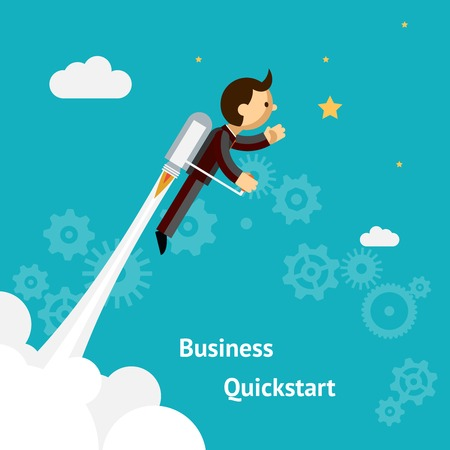 Cartoon Design for Business Growth and Start up Illustration