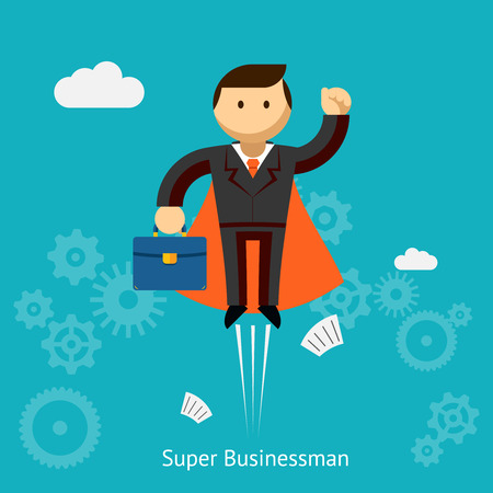 leadership: Flying Super Businessman Cartoon