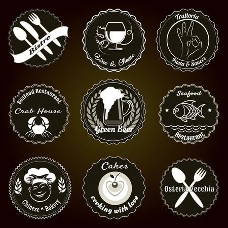 Retro restaurant menu badges Vector