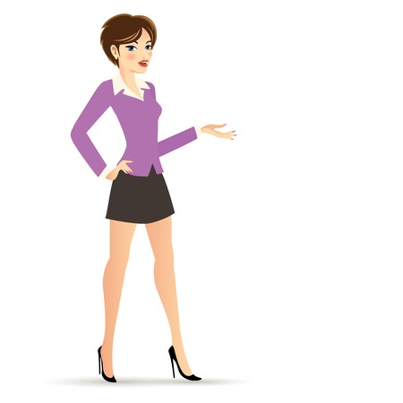 Business Woman Cartoon Character Isolated on White