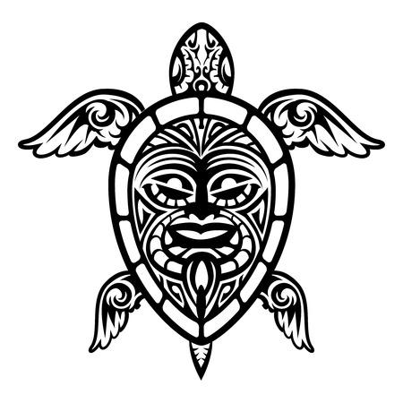 Close up Vector Turtle Polynesian Tattoo Ilustração