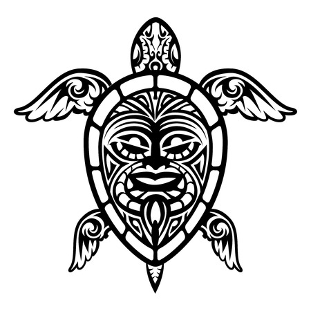 Close up Vector Turtle Polynesian Tattoo Illustration