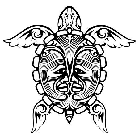 shell pattern: Tribal Totem Animal Turtle Tattoo Illustration