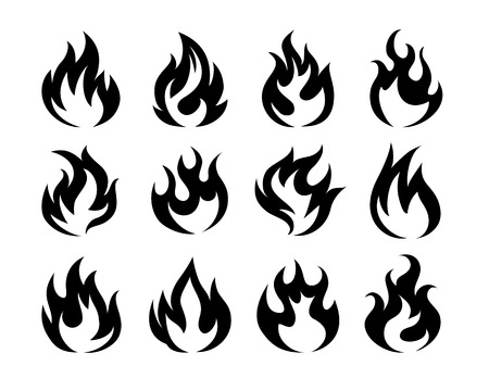 flammable: Vector Black Fire Flame Icons