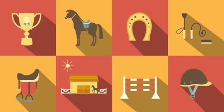 horse riding: Flat Style Horse Icons