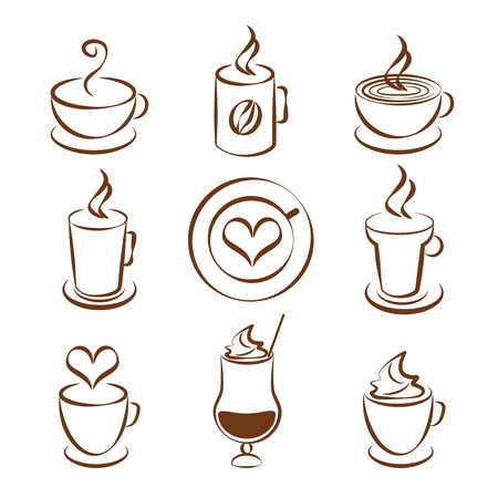 Set of coffee cup vector symbols