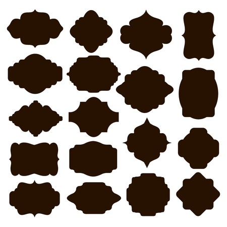marcos decorativos: Conjunto de bastidores silueta negra para las insignias Vectores