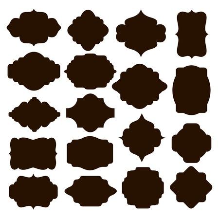gestalten: Set schwarze Silhouette Rahmen für Abzeichen Illustration