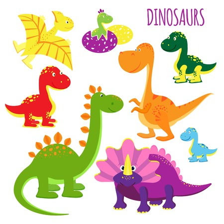 vector icons of baby dinosaurs Illustration
