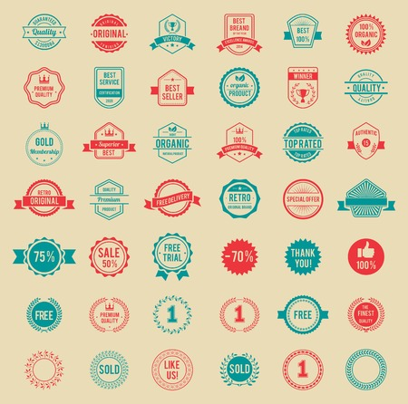 certified stamp: Vector Colored Vintage Badges and Labels