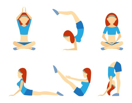 supple: Yoga girl in six positions Illustration