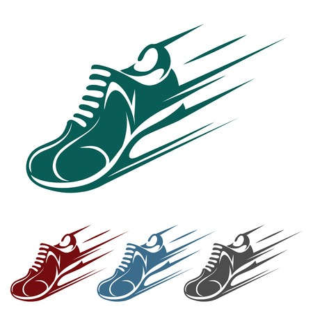 athletics track: Speeding running shoe icons
