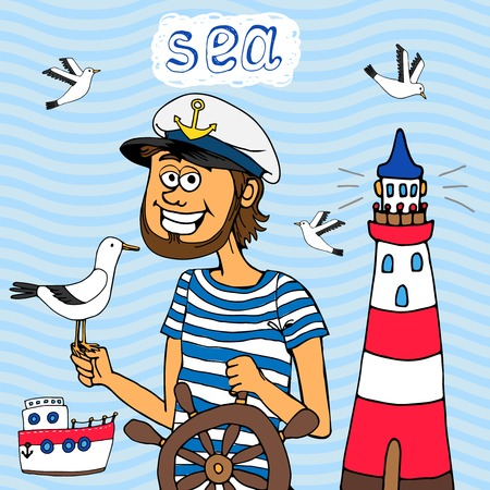 sailor hat: Nautical background of a captain at the wheel