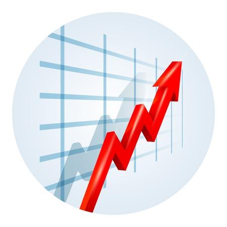 La hausse tendances flèche sur un graphique métier Banque d'images - 31239903