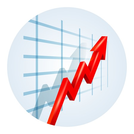 yields: Upward trending arrow on a business graph Illustration