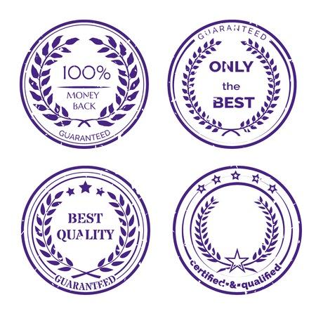 distinction: Circular Guarantee Label Set on White Background Illustration