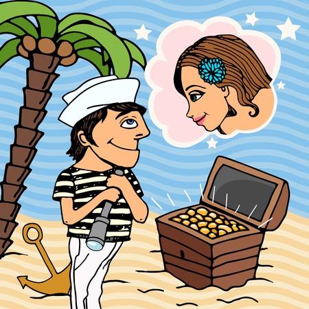 treasure trove: Sailor man in love Illustration