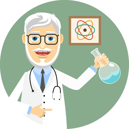 learned: Elderly doctor doing chemical experiments Illustration