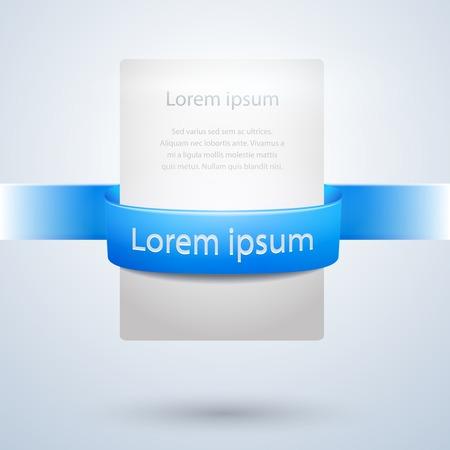 slides: White Paper Banner with Blue Ribbon Design Illustration
