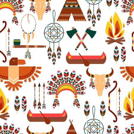totem indien: Motif continu symboles tribaux autochtones américains Illustration
