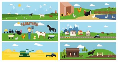 ranching: Beautiful Farmyard Cartoon Banners Illustration