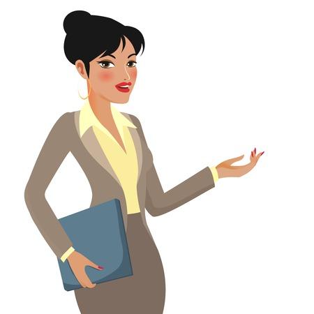 sexy business woman: Businesswoman Cartoon Making Presentations Illustration