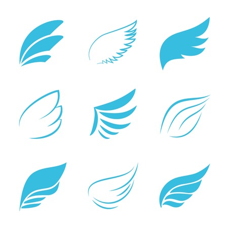 Variety Blue Wings on White Background Illustration