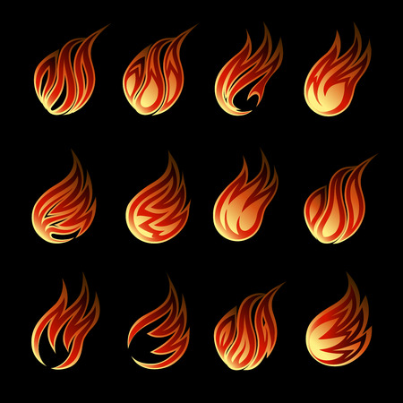 Colorful Fire Icon Set Vector