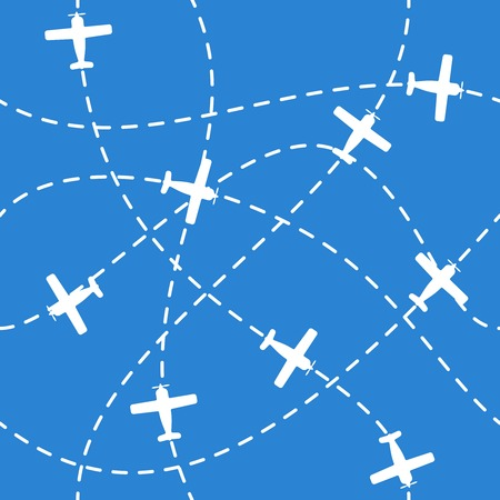 air traffic: Seamless background with airplanes flying  on blue Illustration