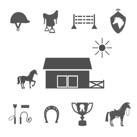 En niveaux de gris de chevaux icônes sur fond blanc