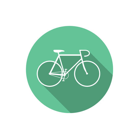 crossbar: Flat Style Bicycle Inside Round Green Icon