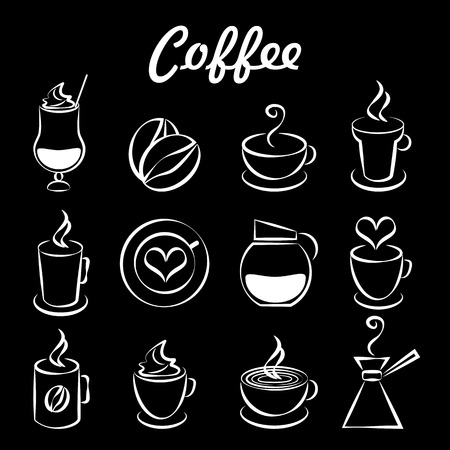 percolator: Set of coffee icons on black