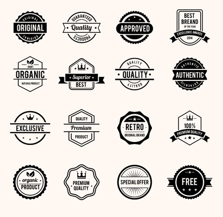 approved stamp: Black and White Retro Badges