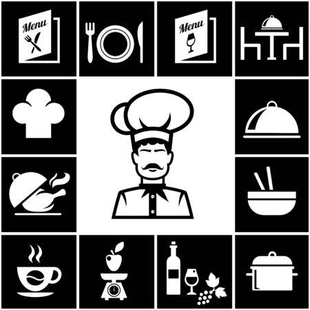 Set of restaurant icons in white on black Vector