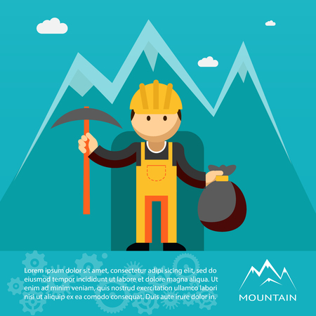 gold mining: Mountain worker with pick and sack of gold