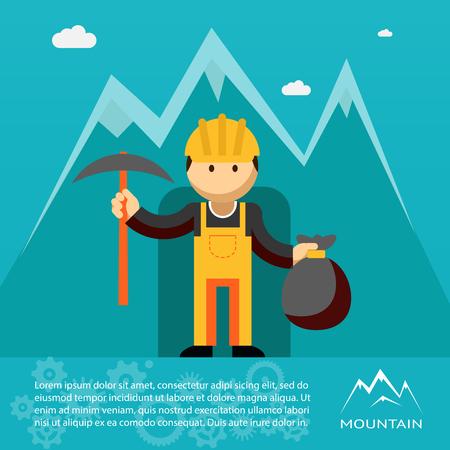 prospector: Trabajador de la montaña con el pico y la saco de oro Vectores