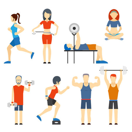 cardiovascular exercising: Set of people exercising at the gym