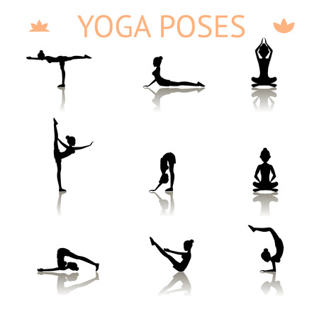 physical fitness: yoga silhouette poses