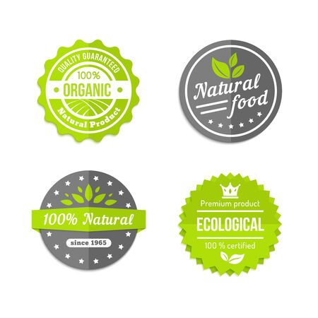 Organic natural and eco food icons set