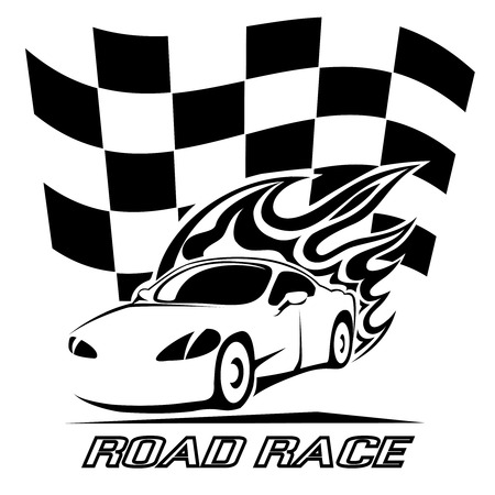 racer flag: Road Race poster design in black and white
