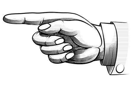 Vintage hand-drawn hand pointing left Vettoriali