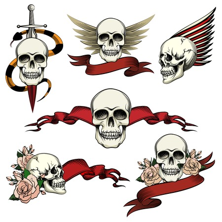 heroism: Set of commemorative skull icons
