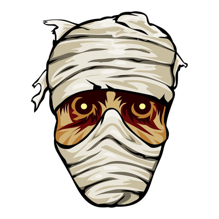 specter: Ghoulish face of a mummy wrapped in bandages