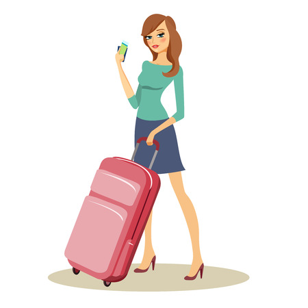 smart woman: Beauty with travel trolley case on wheels