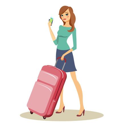 mujer con maleta: Belleza con trolley de viaje con ruedas