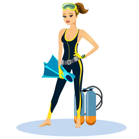 woman diving: Beautiful athletic young scuba diver Illustration